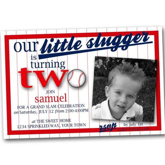 Vintage Baseball Birthday Invitations: Baseball Birthday Invitation. Little Slugger. DIY