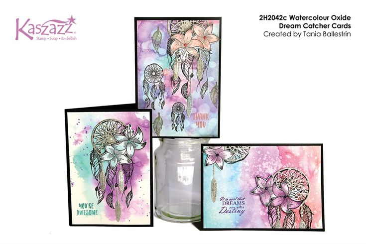 2H2042c Watercolour Oxide Dream Catcher Cards