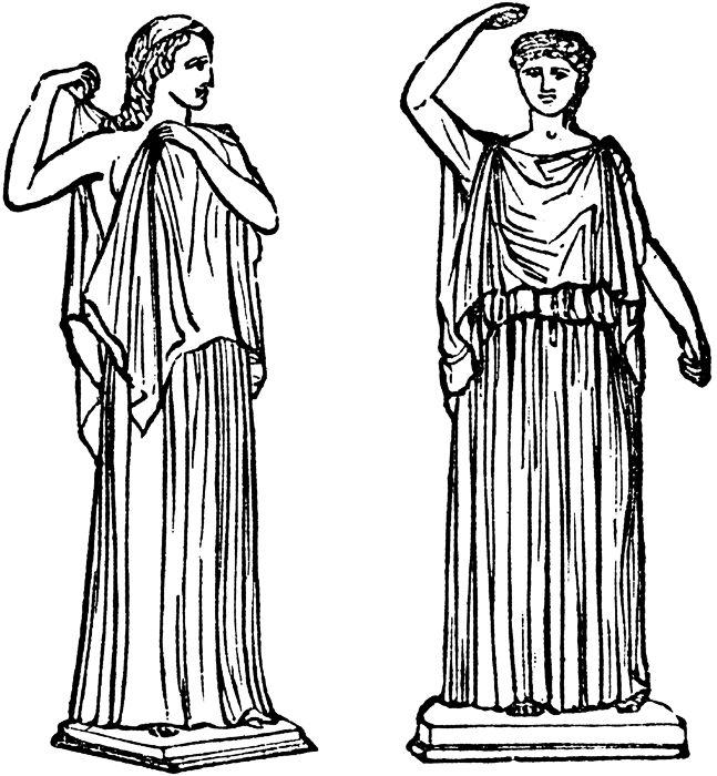 El CHITON o la TÚNICA eran prendas indispensables, era básicamente una pieza de lana de gran tamaño que envolvía el cuerpo que cubría solo un brazo y su tamaño dependía del rango social de la persona.