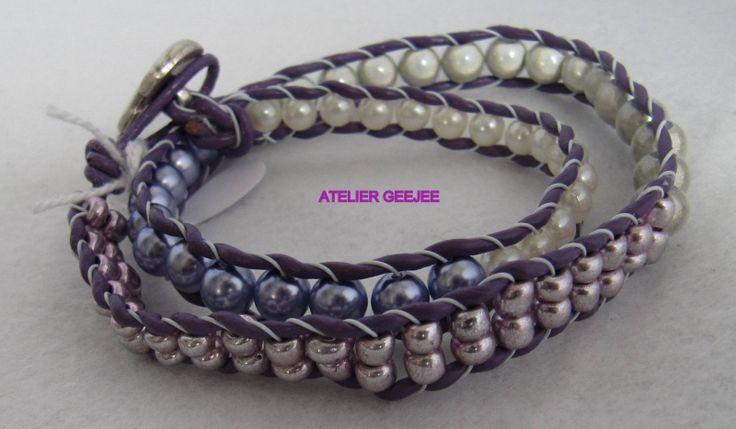 wraparmband , dubbel, met paars leer