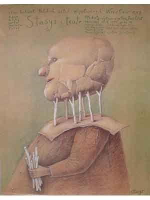 Stasys and Theater. Kunstenaar : Eidrigevicius. Uitgegeven in 1989  Afmeting poster : 89 x 66