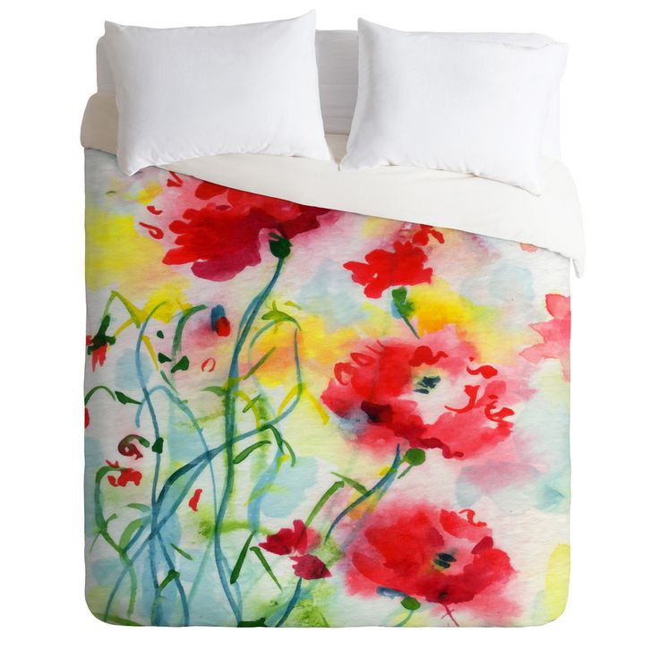 Ginette Fine Art If Poppies Could Only Speak Duvet Cover   DENY Designs Home Accessories