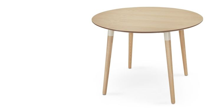 Edelweiss, table ronde, frêne et blanc | made.com
