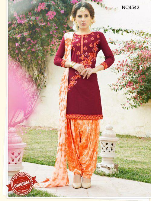 Maroon & Orange Semi Cotton Patiala Suit