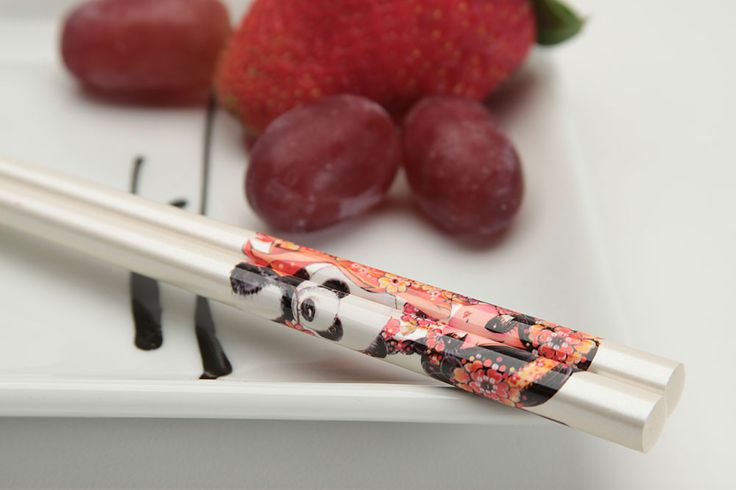 """J-Pop Girls """"Min-Min"""" Japanese Chopsticks. Item CK5204 at EverythingChopsticks.com. J-pop is an abbreviation for Japanese pop, the pop music genre patterned after Western pop. This illustrated cartoon J-pop character is Min Min. She is shown with her pet panda on pearlescent white chopsticks.   #chopstick #chopsticks #hashi #everythingchopsticks #japan #japanese #jpop #j-pop #love #beautiful #cute #happy #art #fun #like #cool #food #style #life #sushi #pretty #hot #yummy"""