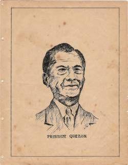 Pres.Manuel L. Quezon, as sketched by Bernardo S.Rojas.