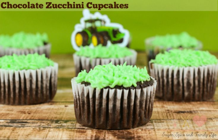 John Deere Chocolate Zucchini Cupcakes are perfect for a John Deere or farm birthday party. Everyone will love these chocolate cupcakes with hidden zucchini
