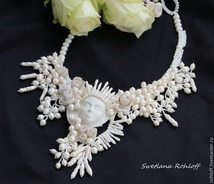 Necklaces, handmade beads.  Necklace ,, ,, White Queen.  Svetlana Roloff.  Shop Online Fair Masters.  A unique gift, pearls
