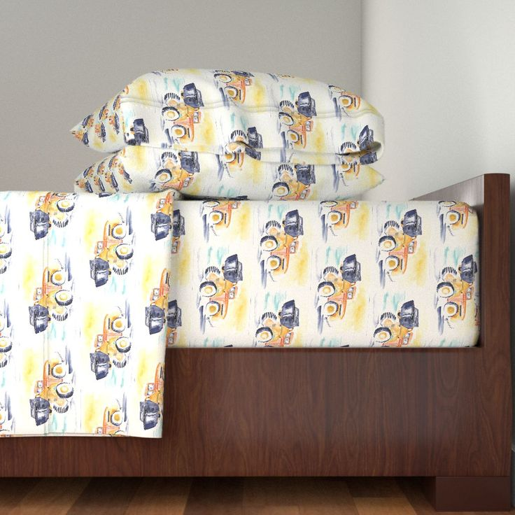 Langshan Sheet Set featuring Construction by wildflowerfabrics | Roostery Home Decor