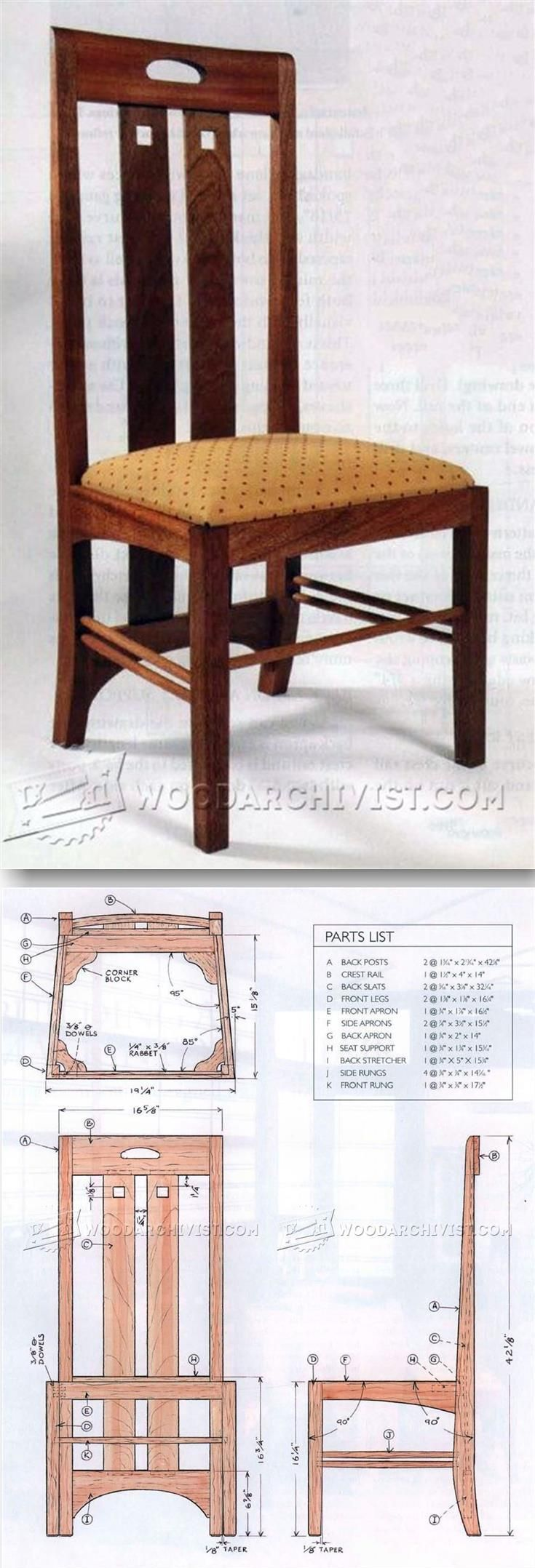Morris chair plans outdoor - Mackintosh Chair Plans Furniture Plans And Projects Woodarchivist Com
