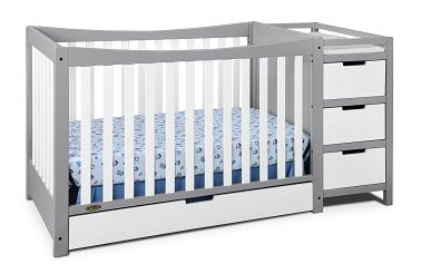 Remi 4-in-1 Convertible Crib and Changer: With a large drawer underneath the crib and an attached changing table featuring multiple drawers and shelves, the Graco Remi offers an abundance of storag...