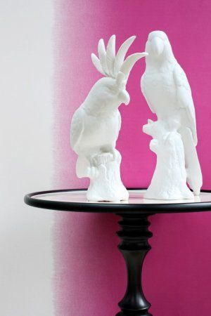 Ceramic Parrot and Cockatoo by #polspotten teamed with Mariska Meijers Degrade Pink wall paper