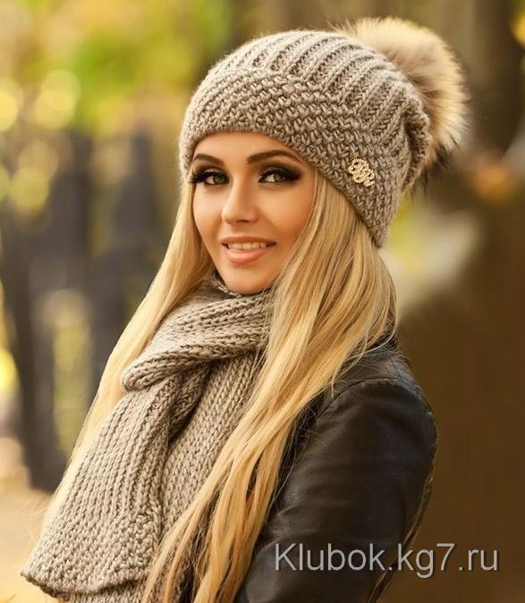 Комплект спицами - шапка и шарф. МАСТЕР- КОСТЫЛЁВА НАТАЛЬЯ