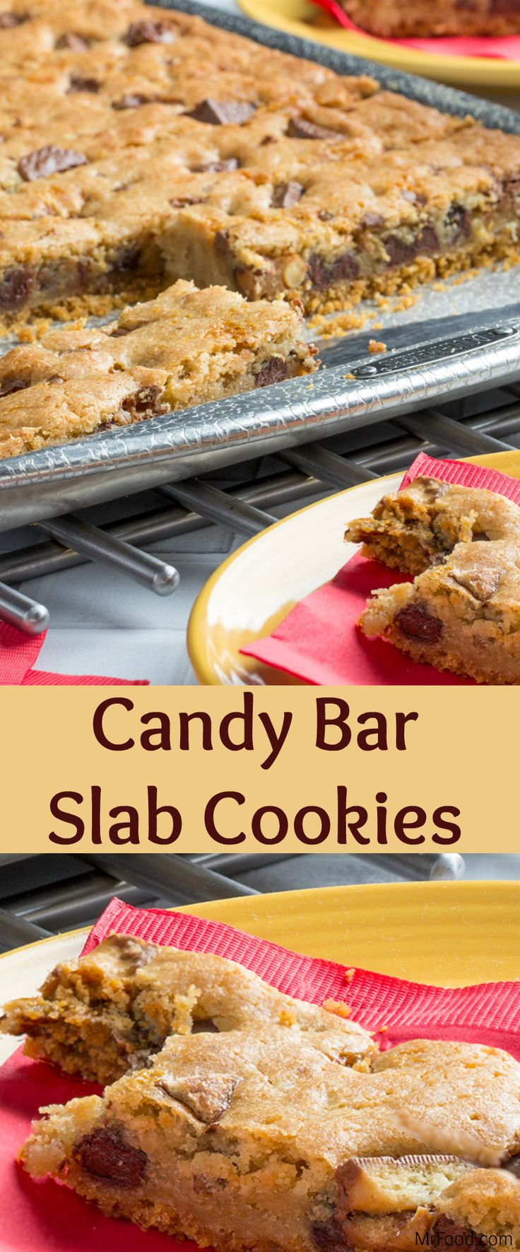 Need a dessert that'll feed a crowd? You've got it! These Candy Bar Slab Cookies are made on a baking sheet, so you end up with enough to satisfy everyone's sweet tooth! Plus, these slab cookies feature a winning combo of graham cracker crust, chocolate chips, walnuts, and...wait for it...your favorite chopped up candy bars. Yum!
