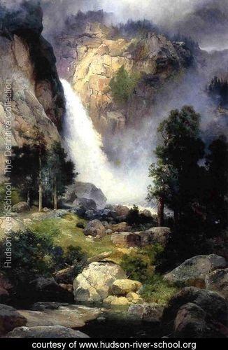Cascade Falls  Yosemite - Thomas Moran - www.hudson-river-school.org
