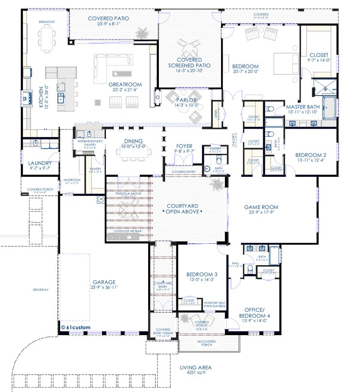 contemporary courtyard floorplan - closets galore, laundry exterior wall, courtyards, game room, open kitchen dining & living area. Very nice!