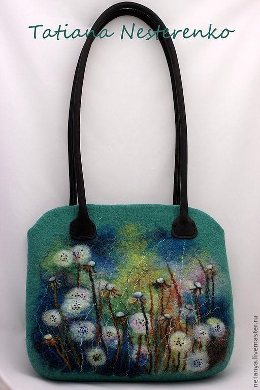 """Купить Сумка """"Пух одуванов"""" - зелёный, цветочный, валяная сумка, сумка с цветами, одуванчики"""
