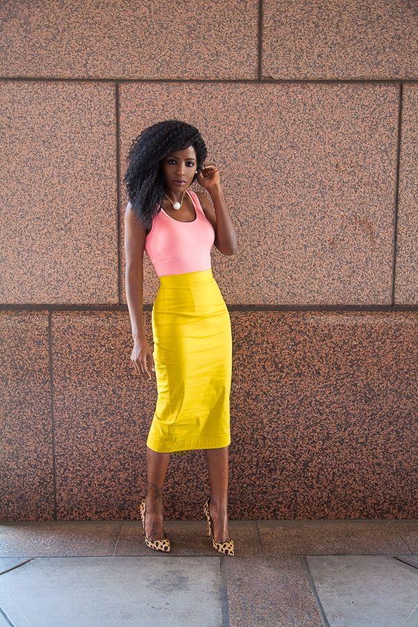 Folake Kuye Huntoon. Style Pantry Fashion Blogger. Coral Tank + Yellow Pencil Skirt