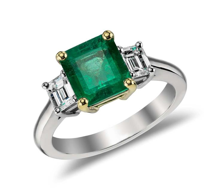 Emerald and Diamond Ring in 18k White and 18k Yellow Gold | Blue Nile