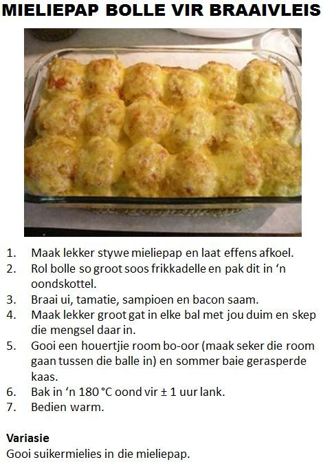 Mieliepap Bolle Vir Braaivleis, dont want to think of the syns in this dish