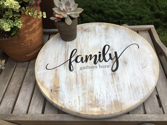 Wood Lazy Susan Family Gathers Here Round Wood Turntable Etsy Kitchen Table Centerpiece Farmhouse Table Centerpieces Lazy Susan