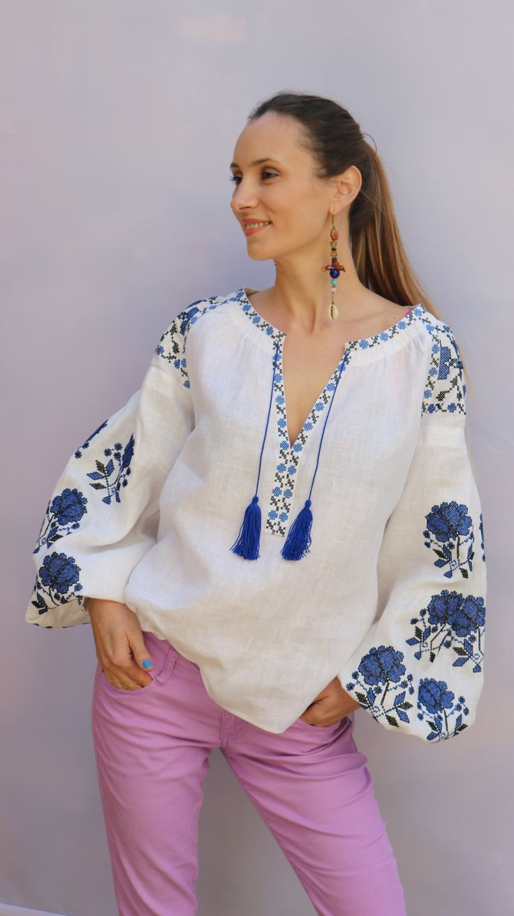 White vita kin style blue roses V Neck Vyshyvanka linen Blouse black blue embroidery. XS-XXL VB033