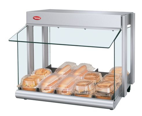 The Hatco Glo-Ray® Mini-Merchandiser (GRHW Series) features a thermostatically-controlled heated base and overhead infrared heating elements to hold an array of food products for extended periods of time at preferred serving temperatures.