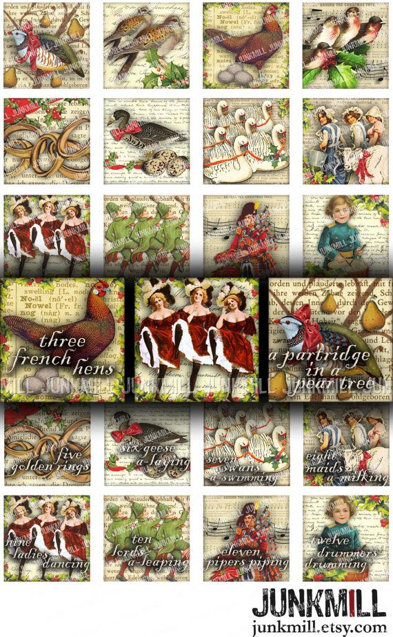 "12 DAYS of XMAS - Digital Printable Collage Sheet - Vintage Twelve Days of Christmas, Holiday, 1"" Square or Scrabble Tile, Instant Download"