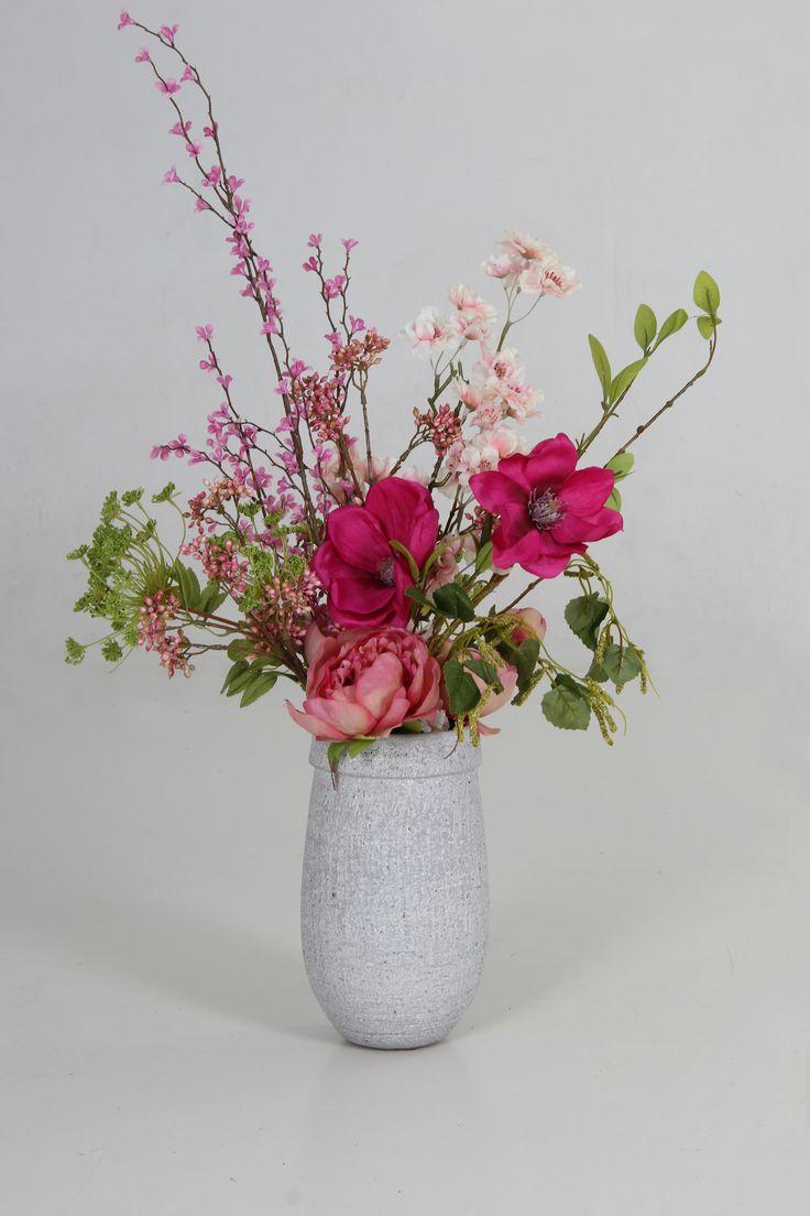 Zijde bloemen boeket en bloemen www.decoratietakken.nl