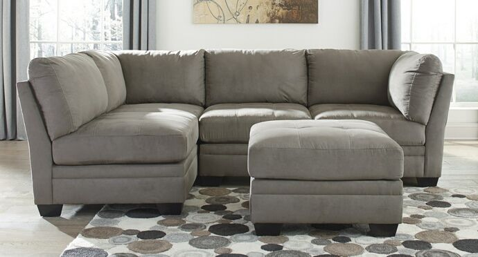 "5 pc Lago collection cobblestone colored fabric upholstered modular sectional sofa set. This set includes the 2 - corner wedges , 2 - armless chairs and 1 - ottoman. Corner wedge measures 39"" x 39"" x 37"" H. Armless chair measures 32"" W x 39"" x 37"" H. Ottoman measures 32"" x 32"" x 19"" H. Additional pieces also available separately at additional cost. Some assembly required."