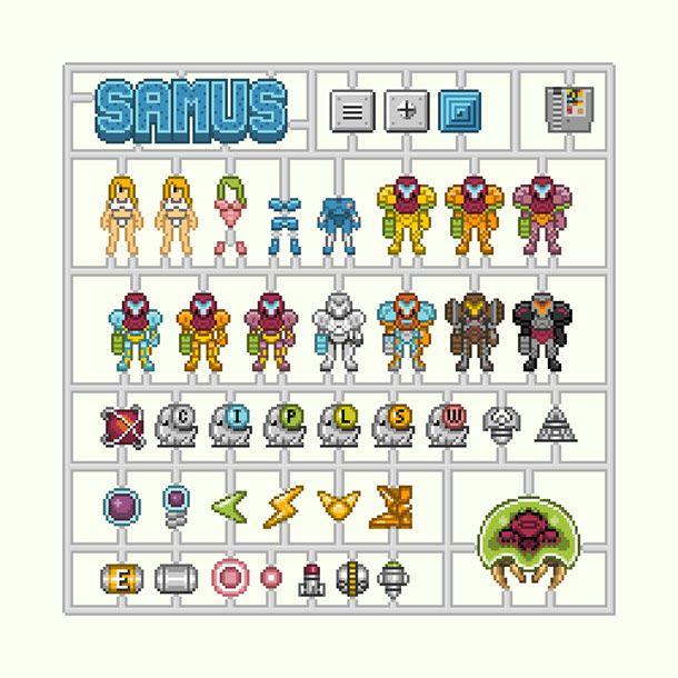 #pixel: Models, Nintendo, Video Games, Samus Metroid 8Bitmodel Kit, Videogames, Game Art, Pixel Art, 8 Bit
