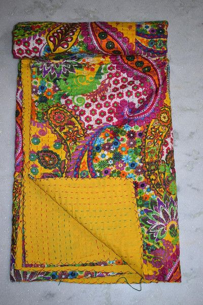 Other – Kantha Ethnic Stitch Decorative Gudri Floral Print – a unique product by IndianCraftPalace on DaWanda