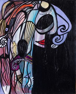 """PENELOPE"" Oil on Canvas Unframed 20"" x 16"" 2017  #painting #oilpainting #penelope #greekmythology #homersodyssey #odysseuswife #faithfulwife #symbolism #originalart #mythological #art #artcollecting #artbuyers #artlovers #artcollectors #emergingartist"
