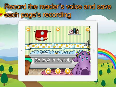 Super reader's Little Monster Adventures. Til den allerførste læsning. man kan lytte ved hjælp af highlight eller selv opgtage sin egen stemme. Appen er gratis. Man lærer om monstre. Appen koster 25 kr.