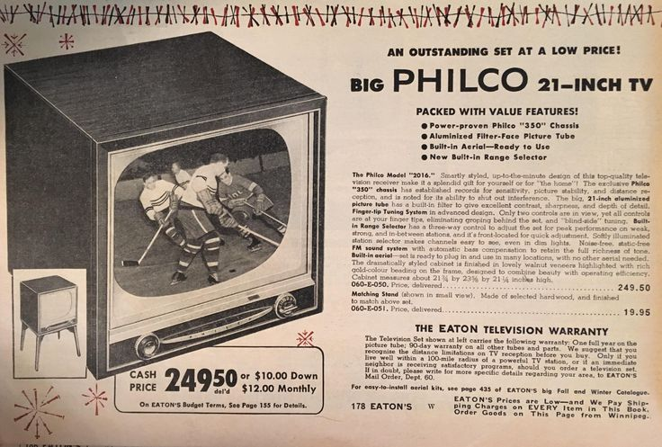 Eaton's (Canada) Christmas 1955 - Philco TV #vintageads #Ads #vintage #PrintAd #tvads #advertising #BrandScience #influence #online #Facebook #submissions #marketing #advertising