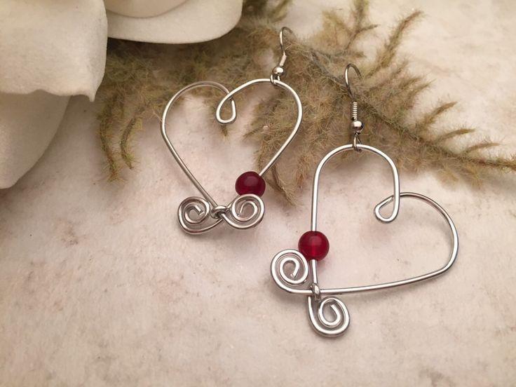 Aluminum Wire Earrings Heart Red Beads by TCbyRachel on Etsy https://www.etsy.com/listing/112862421/aluminum-wire-earrings-heart-red-beads