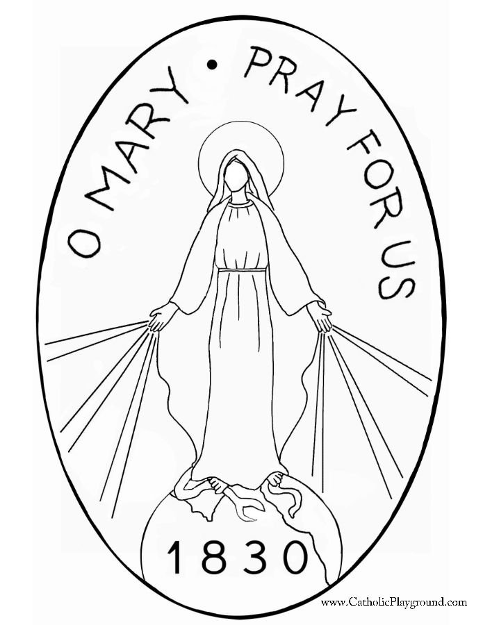 Miraculous Medal Craft Template Catholic Playground Miraculous