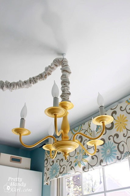 Bright Cheery Laundry Room Mud 5 Brass Chandelier Got A Spray Painted Makeover With Summer Squash Color