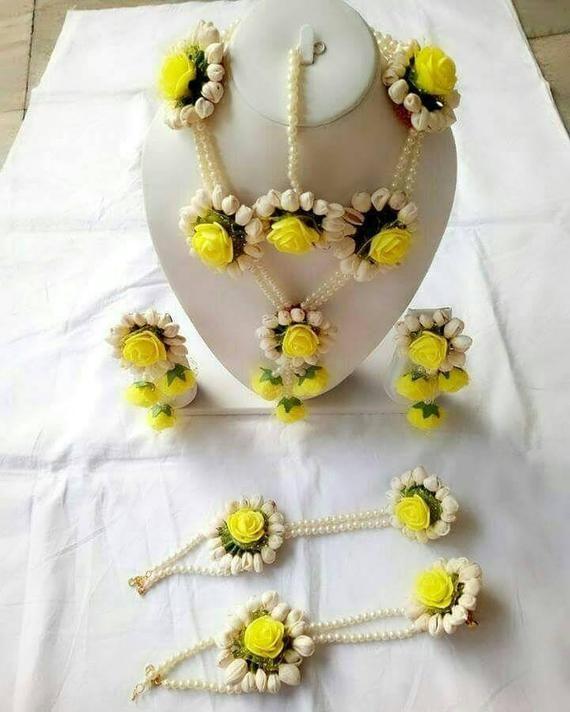 Handmade yellow Floral jewellery set. yellow set jewellery handmade floral