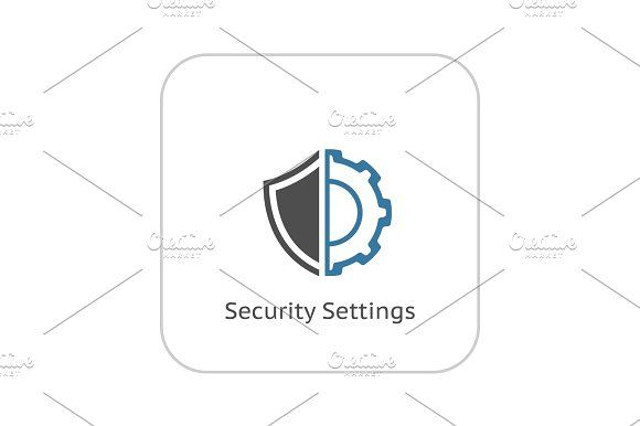 Security Settings Icon. Flat Design. Graphics Security Settings Icon. Flat Design. Business Concept Isolated Illustration. by PictureInStock