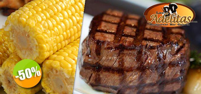 Las Adelitas - $189 en lugar de $378 por 1 Ensalada César + 1 Exquisito Filete Miñón con Pan de Ajo y Acompañamientos Click http://cupocity.com/