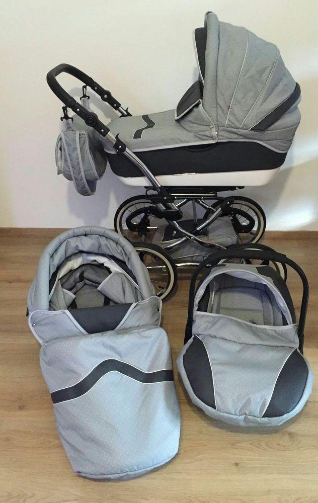 Kinderwagen / Sportwagen / Babyschale / Kombiwagen Retro Design Grau