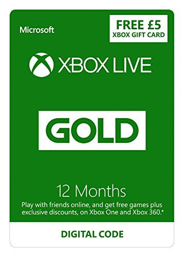 Microsoft Xbox LIVE 12 Month Gold Membership   £5 FREE Credit [Xbox Live Online Code] (Xbox 360/One) No description (Barcode EAN = 0885370941241). http://www.comparestoreprices.co.uk/january-2017-2/microsoft-xbox-live-12-month-gold-membership- -£5-free-credit-[xbox-live-online-code]-xbox-360-one-.asp