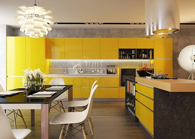В данном интерьере преобладает желтый цвет – олицетворение тепла и света. Он излучает оптимизм и жизнерадостность. «Солнечная кухня» располагает к приятному времяпровождению, создает доброжелательную и уютную атмосферу.  #дизайн #дизайнинтерьера#декор #luxuryinteriors#дизайнинтерьеров#modern #minimal#проект #индивидуальныйпроект #architecture #design #стиль #creative #современныеинтерьеры #cовременныйдизайн #дизайнрешение #вдохновение #творчество #homedecoration #homedecor #делаемкрасиво