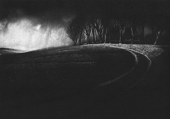 A landscape etching of Chacntonbury Ring