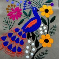 Table Runner gray, Mexican Textile hand made, hand woven, hand embroidered, colorful peacocks piece of art from Chiapas Mexico,