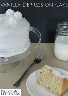 Vanilla Depression Cake Recipe- This vanilla cake became famous during the depression when staples like milk and eggs were scarce. This is a great dessert idea when entertaining friends and family who must follow an egg-free, dairy-free diet because of food allergies. But most importantly this homemade vanilla cake recipe is delicious, inexpensive, and easy to make.