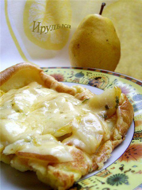 Пикантный омлет с грушей и сыром : Запеканки и омлеты