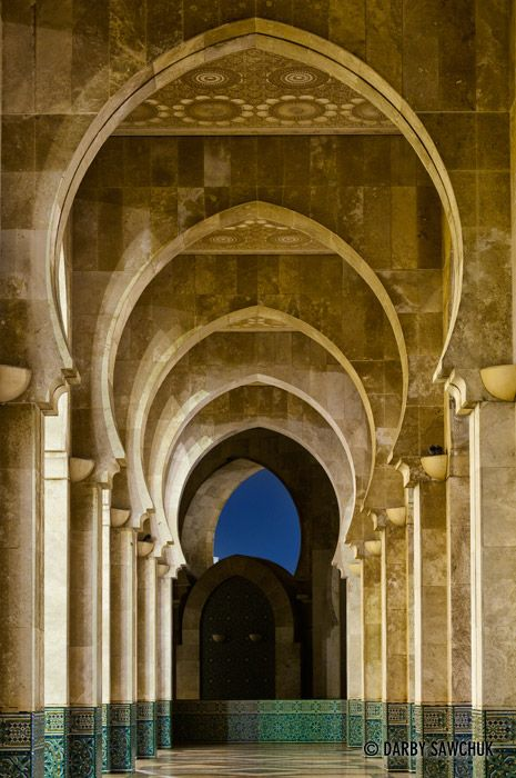 Arches on the exterior of the Hassan II Mosque in Casablanca, Morocco.