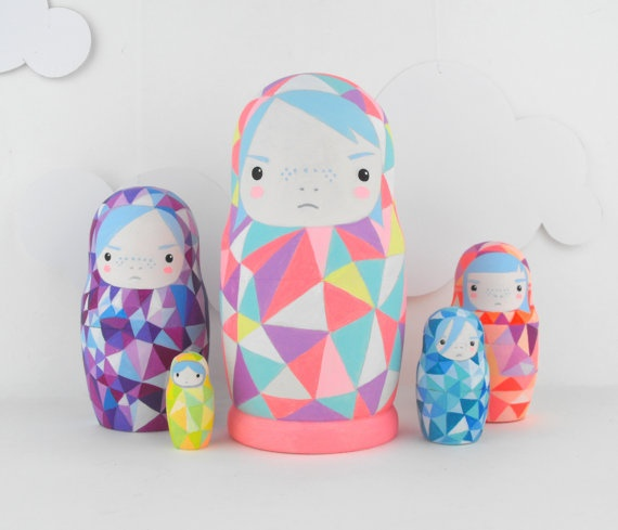 geometric neon matryoshkas by SketchInc